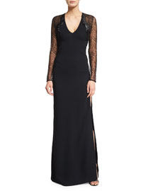 Lace-Sleeve V-Neck Gown, Black