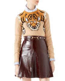 Tiger Jacquard Knit Top