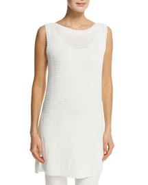 Tobago Knit Linen-Silk Tunic, Optical White