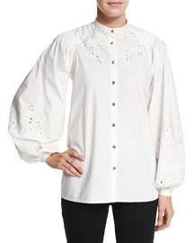Laser-Cut Bishop Sleeve Blouse, White