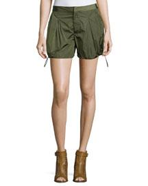 Nylon Drawstring Cargo Shorts, Military