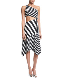 Bias Striped One-Shoulder Cutout Dress, Black/White