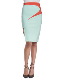 Bicolor Swirl-Print Pencil Skirt, Seafoam