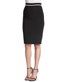 Pearly-Waist Crepe Pencil Skirt, Black