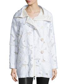 Pistache Floral Burnout Jacket, White