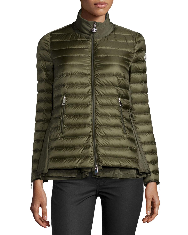 Moncler Grenouille Flyaway Puffer Coat, Olive (Green), Women's, Size: 5