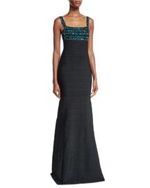 Sleeveless Beaded-Bodice Gown, Black