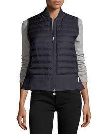 Quilted Nylon Trapeze Vest, Midnight