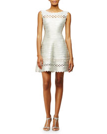 Sleeveless Fit-and-Flare Bandage-Knit Dress, Silver