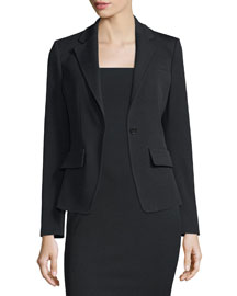 Woven Faille One-Button Blazer, Black