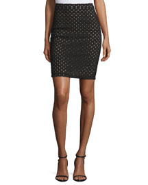 Broderie Anglaise Pencil Skirt, Black