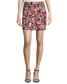 Floral-Embroidered Silk Mini Skirt, Pink