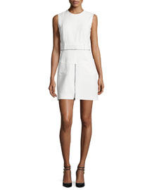 Sleeveless Cady Zip-Front Dress, Chalk