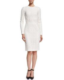 Long-Sleeve Broderie Anglaise Dress, Chalk