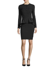 Long-Sleeve Stretch-Wool Peplum Dress, Black