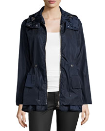 Long-Sleeve Drawstring Nylon Jacket, Navy