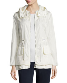 Long-Sleeve Drawstring Nylon Jacket, Cream
