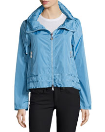 Allache Short Zip-Hood Jacket, Sky Blue