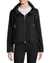 Allache Short Zip-Hood Jacket, Black