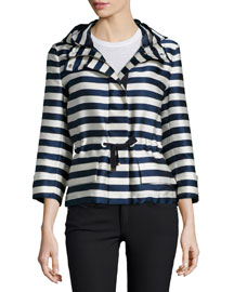 Corail Hooded Striped Satin Jacket, Navy