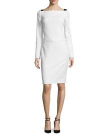 Long-Sleeve Cady Dress w/Deep-V Back, Chalk