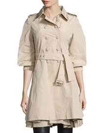 Double-Breasted Puff-Sleeve Trench Coat, Light Khaki