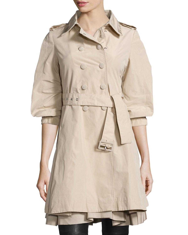 Moncler Double-Breasted Puff-Sleeve Trench Coat, Light Khaki, Women's, Size: 00, Ltkhak