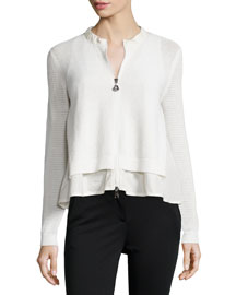 Perforated Zip-Front Layered Cardigan, Cream