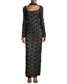 Long-Sleeve Open-Back Lace Choker Gown, Black