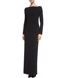 Long-Sleeve Square-Neck Column Dress, Black