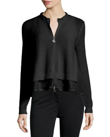 Perforated Zip-Front Layered Cardigan, Black