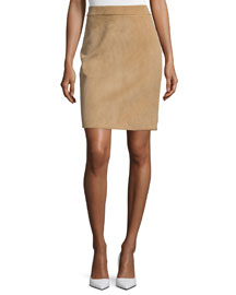 Fitted Suede Back-Zip Skirt, Sand