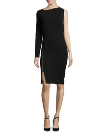 One-Sleeve Compact Stretch-Viscose Dress, Black