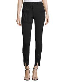 Slim-Leg Stretch-Wool Pants w/Suede Trim, Black