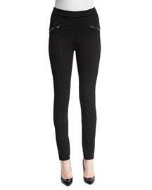 Seamed Zip-Trim Leggings, Black
