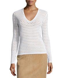 Long-Sleeve V-Neck Eyelet Sweater, Chalk