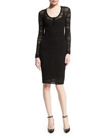 Long-Sleeve Pointelle Scoop-Neck Dress, Black