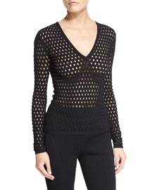 Long-Sleeve Sheer Eyelet Top, Black