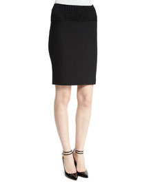 Ribbed Stretch-Knit Pencil Skirt, Black