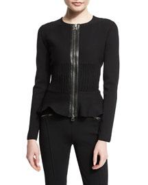 Ribbed Knit Cardigan w/Leather Trim, Black