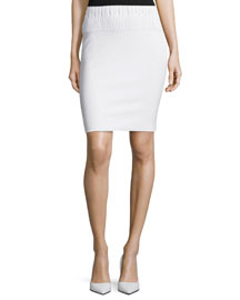 Ribbed Knit Pencil Skirt, Chalk
