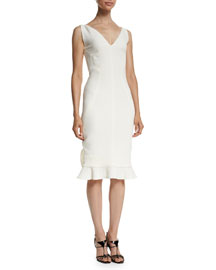 V-Neck Sleeveless Ruffle-Hem Dress, Ivory