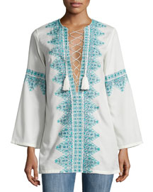 Embroidered Lace-Front Cotton Tunic, White/Blue