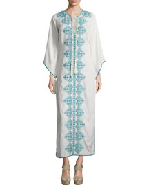 Embroidered Lace-Front Long Dress, White/Blue