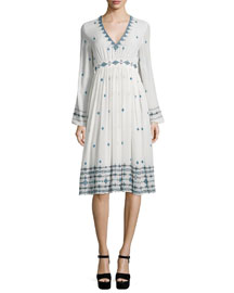 Long-Sleeve Embroidered Silk Dress, White/Blue