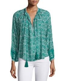 Long-Sleeve Paisley-Print Silk Blouse