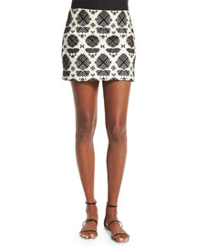 Embroidered Cotton Mini Skirt, India Ivory