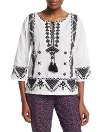 3/4-Sleeve Embroidered Tassel-Tie Top, India Ivory