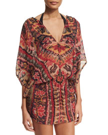 Ikat-Print Drawstring Poncho Coverup, Red Lotus