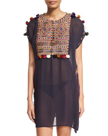 Pompom-Embroidered Sheer Coverup Dress, Navy